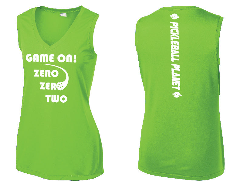 Ladies Sleeveless V Neck Tank Lime Shock Green Game On
