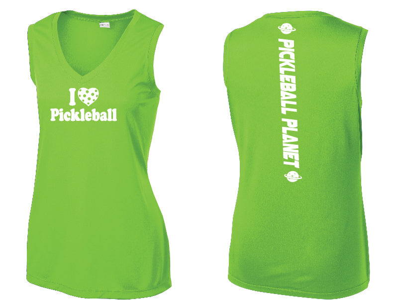 Ladies Sleeveless V Neck Tank Lime Shock Green I Love Pickleball