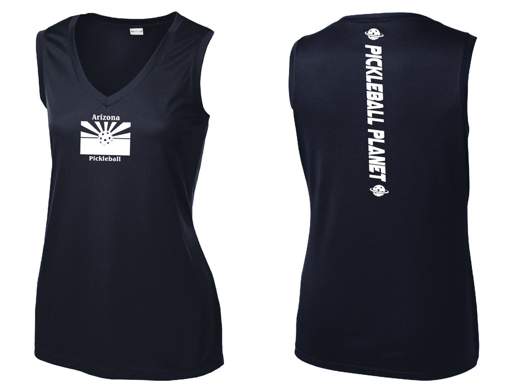 Ladies Sleeveless V Neck Navy Blue Arizona Flag