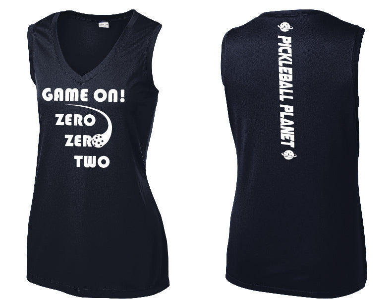 Ladies Sleeveless V Neck Tank Navy Blue Game On