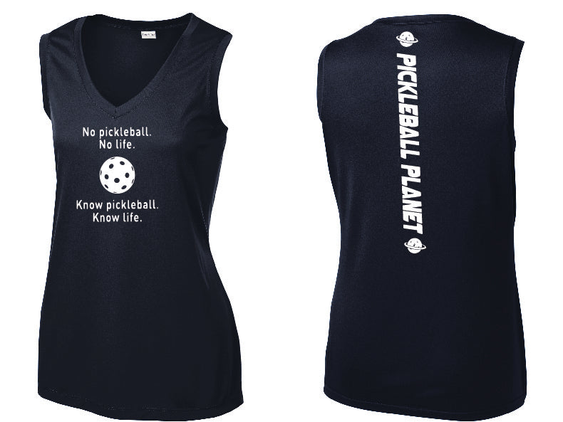 Ladies Sleeveless V Neck Tank Navy Blue Know Pickleball