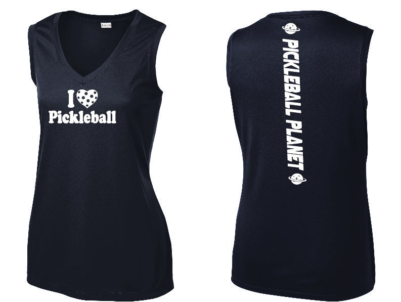 Ladies Sleeveless V Neck Tank Navy Blue I Love Pickleball