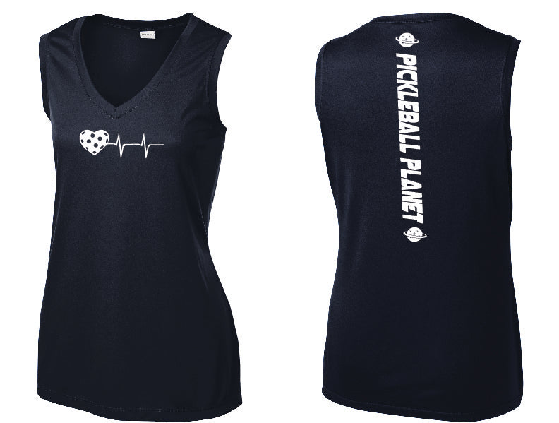 Ladies Sleeveless V Neck Tank Navy Blue Heartbeat