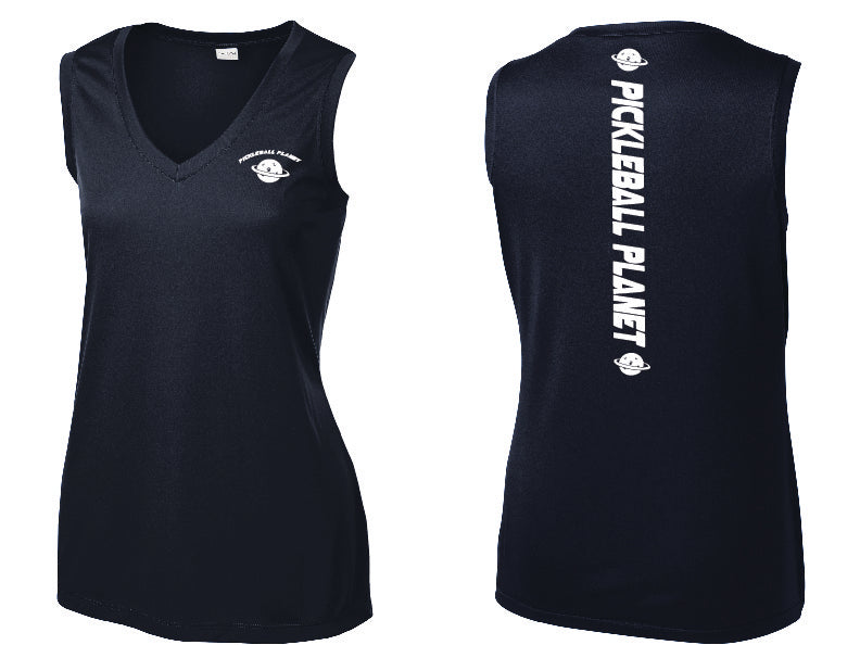 Ladies Sleeveless V Neck Tank Navy Blue Pickleball Planet