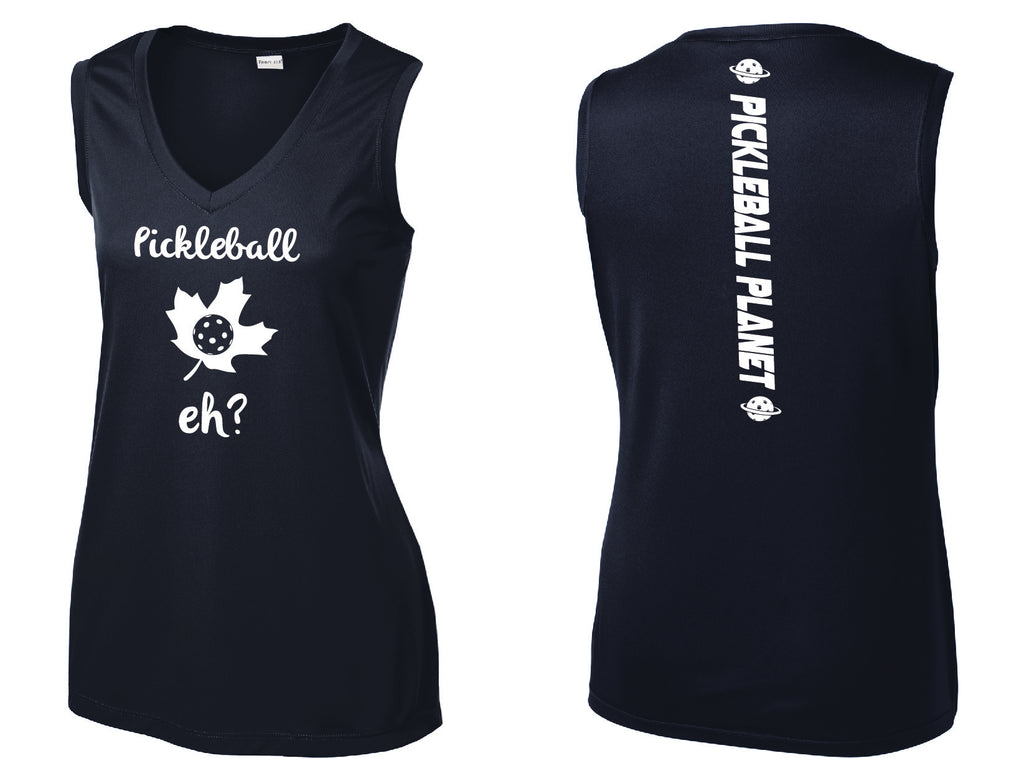 Ladies Sleeveless V Neck Tank Navy Blue Pickleball Eh