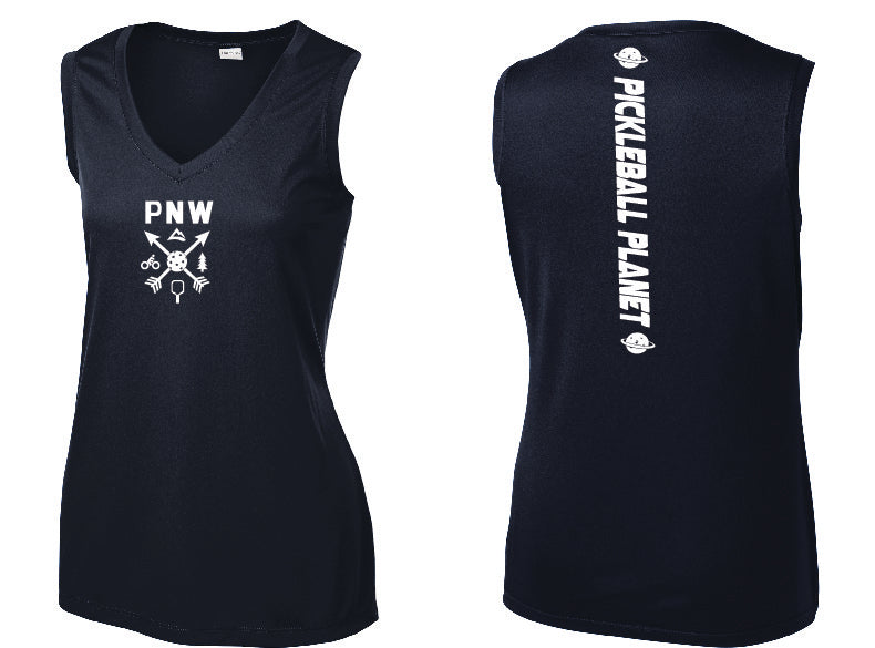 Ladies Sleeveless V Neck Tank Navy Blue PNW