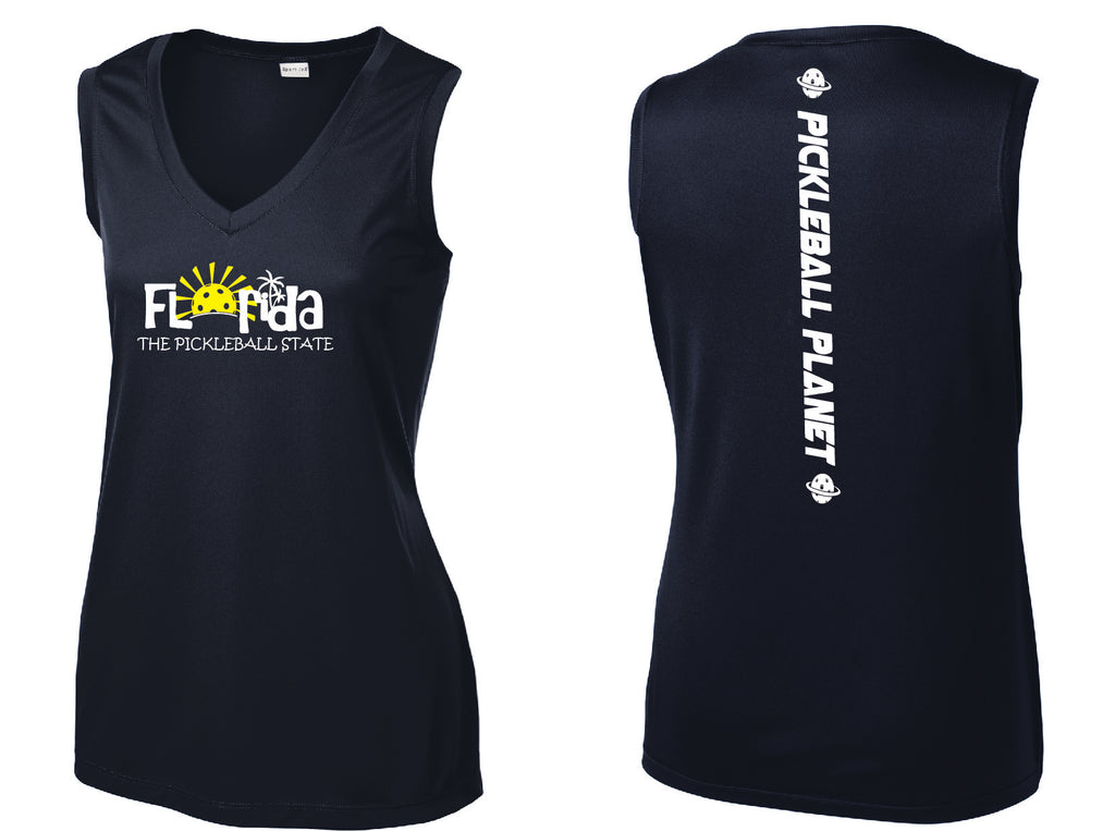 Ladies Sleeveless V Neck Tank Navy Blue Florida