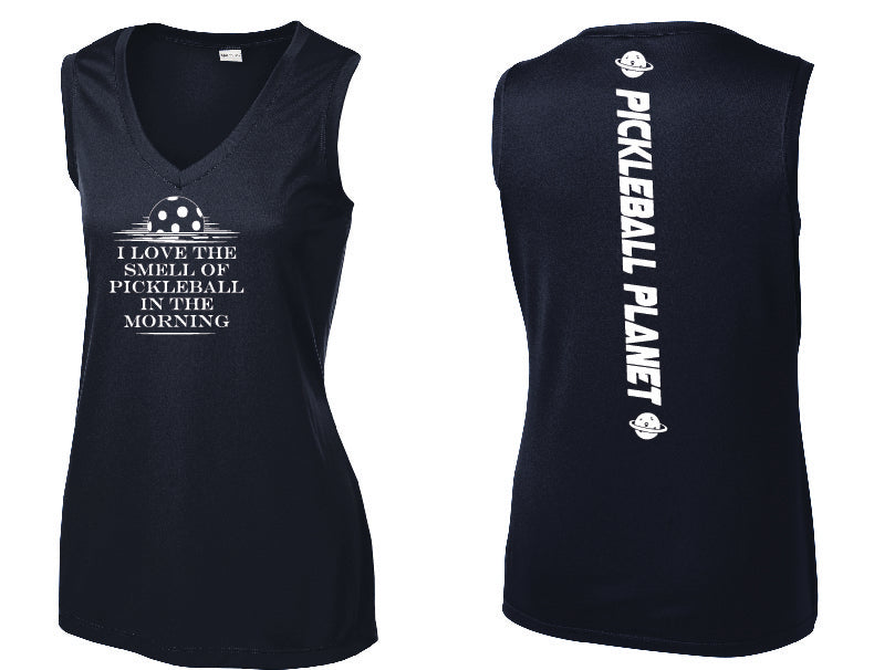 Ladies Sleeveless V Neck Tank Navy Blue I Love the Smell of Pickleball