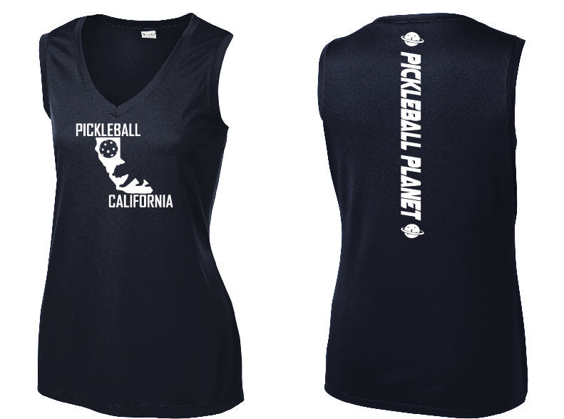 Ladies Sleeveless V-Neck Navy Blue California Bear