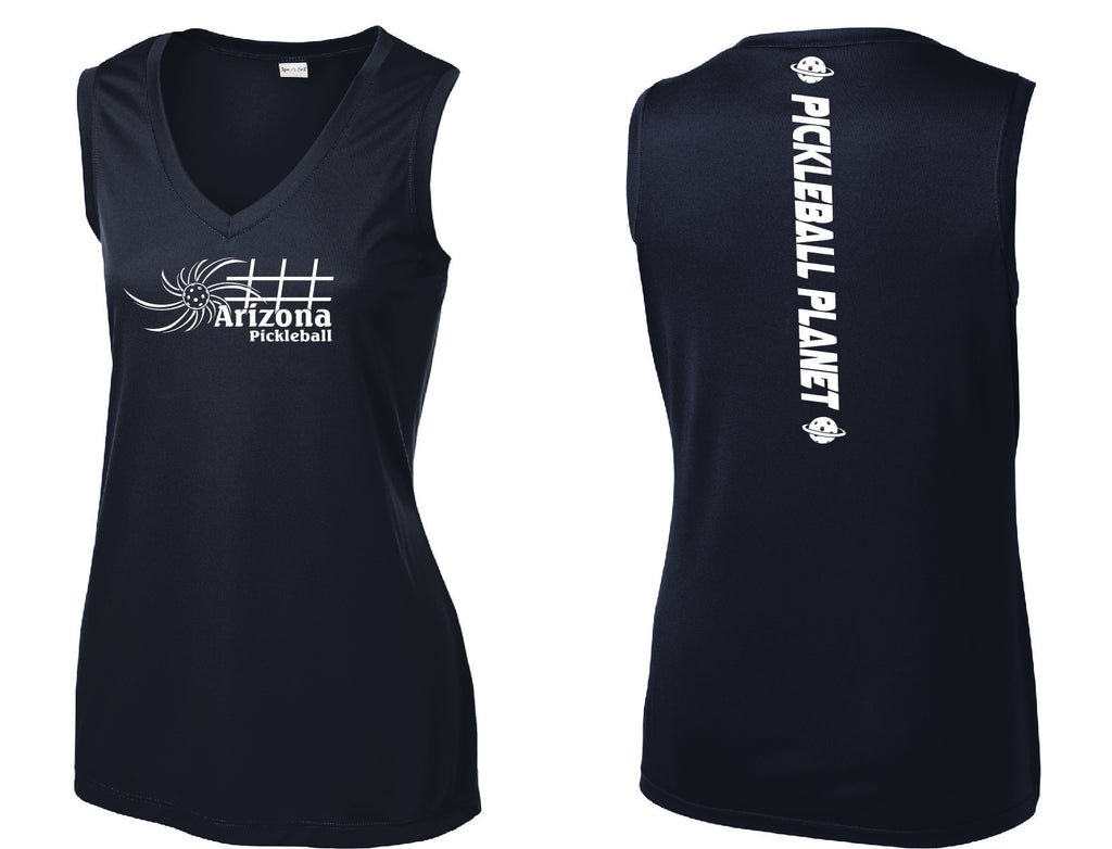 Ladies Sleeveless V Neck Navy Blue Arizona Sun