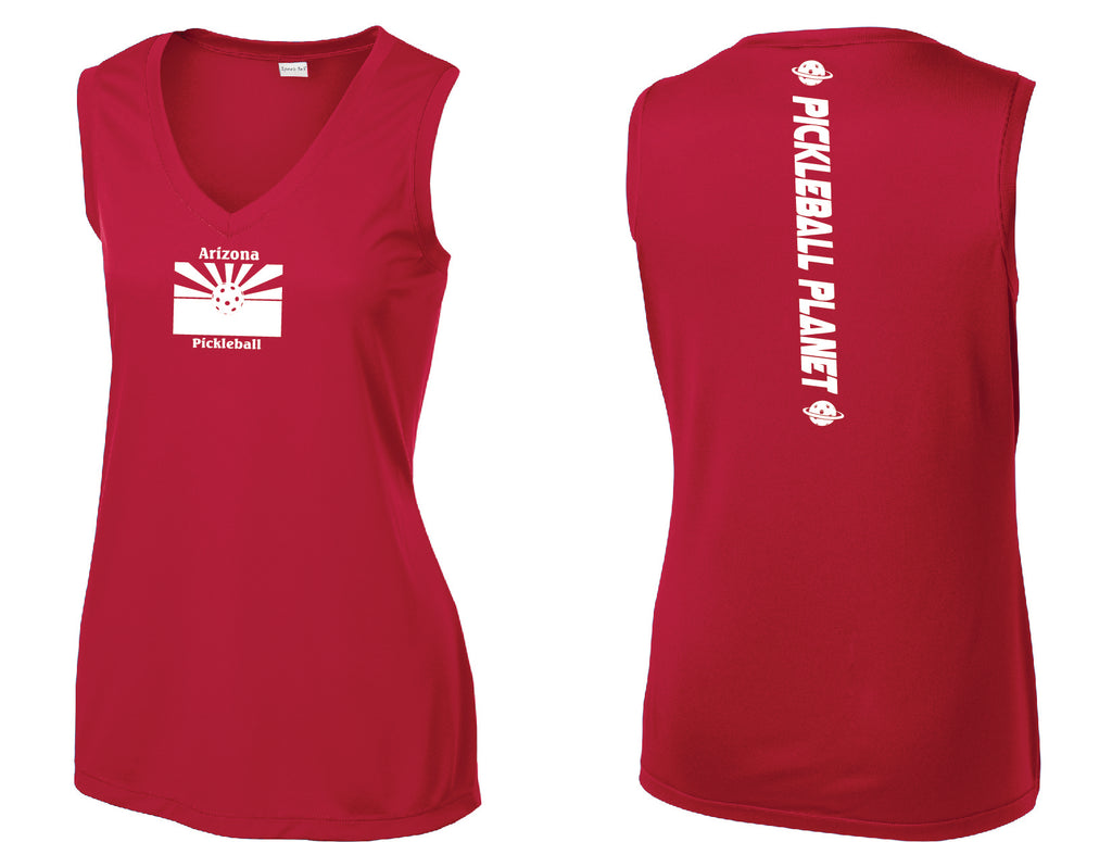 Ladies Sleeveless V Neck Red Arizona Flag