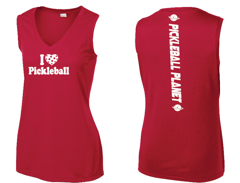 Ladies Sleeveless V Neck Tank Red I Love Pickleball
