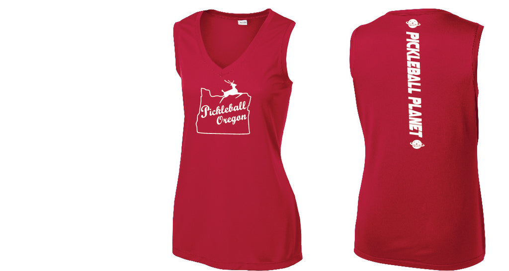 Ladies Sleeveless V Neck Tank Red Pickleball Oregon
