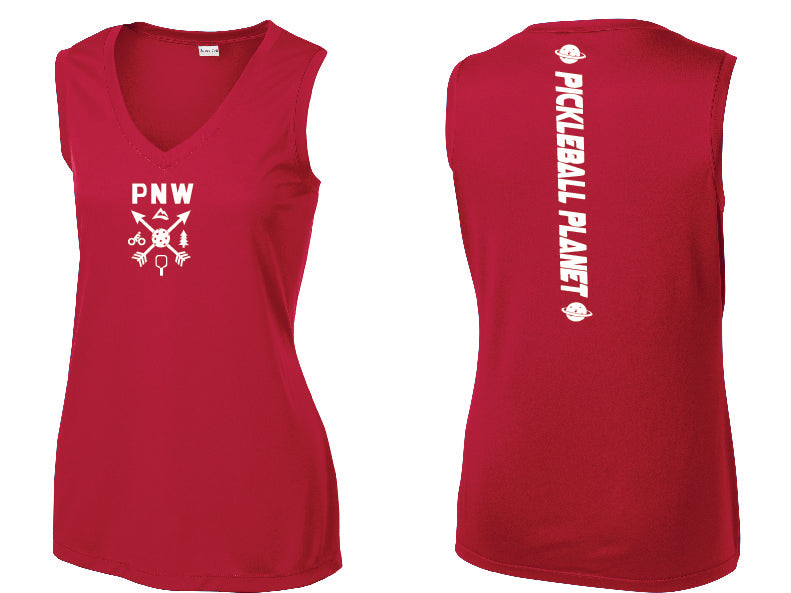 Ladies Sleeveless V Neck Tank Red PNW
