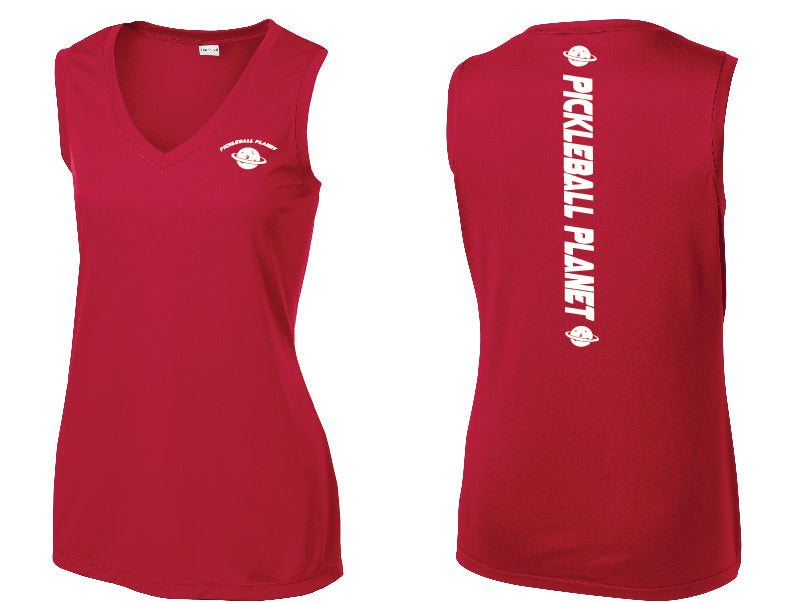Ladies Sleeveless V Neck Tank Red Pickleball Planet