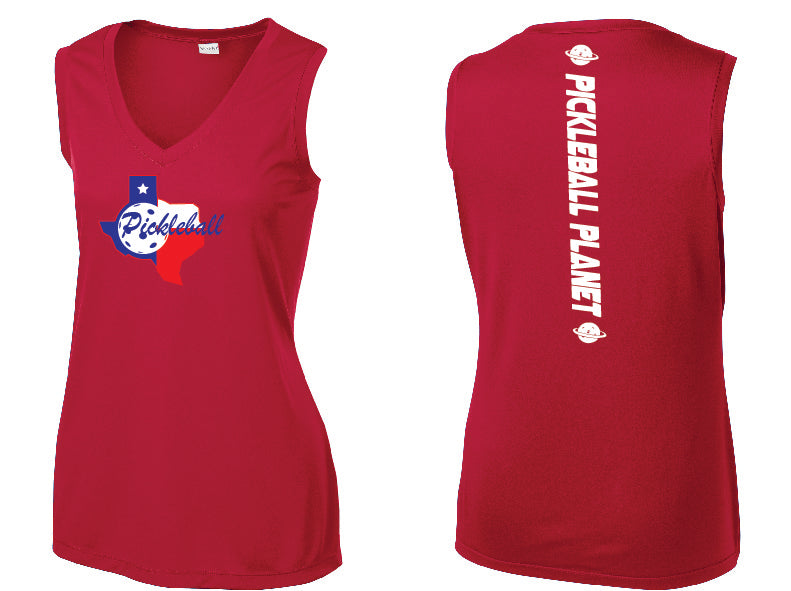 Ladies Sleeveless V Neck Tank Red Texas State