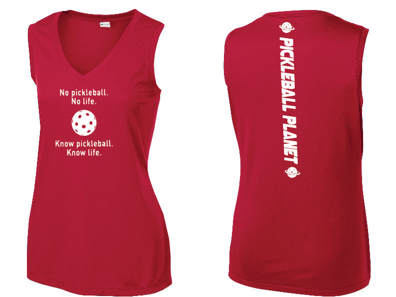 Ladies Sleeveless V Neck Tank Red Know Pickleball