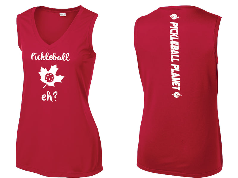 Ladies Sleeveless V Neck Tank Red Pickleball Eh