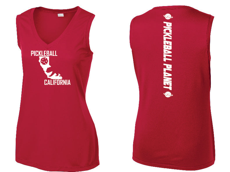 Ladies Sleeveless V-Neck Red California Bear