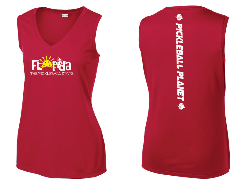 Ladies Sleeveless V Neck Tank Red Florida