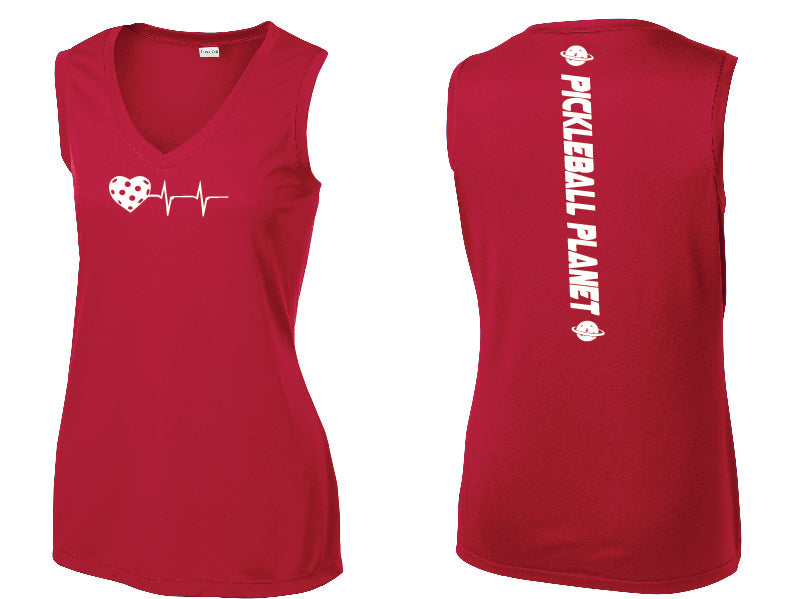 Ladies Sleeveless V Neck Tank Red Heartbeat