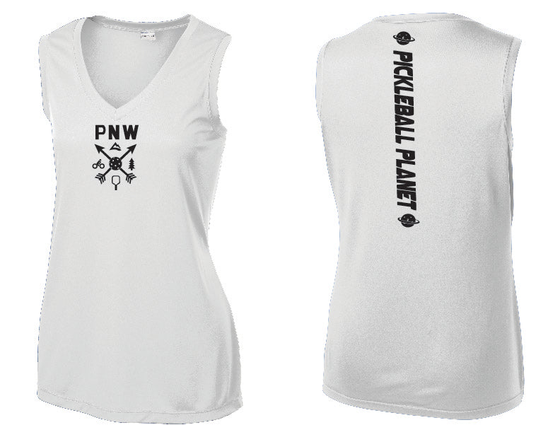 Ladies Sleeveless V Neck Tank White PNW