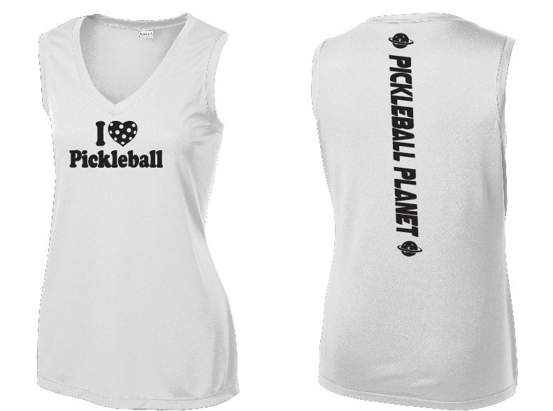 Ladies Sleeveless V Neck Tank White I Love Pickleball