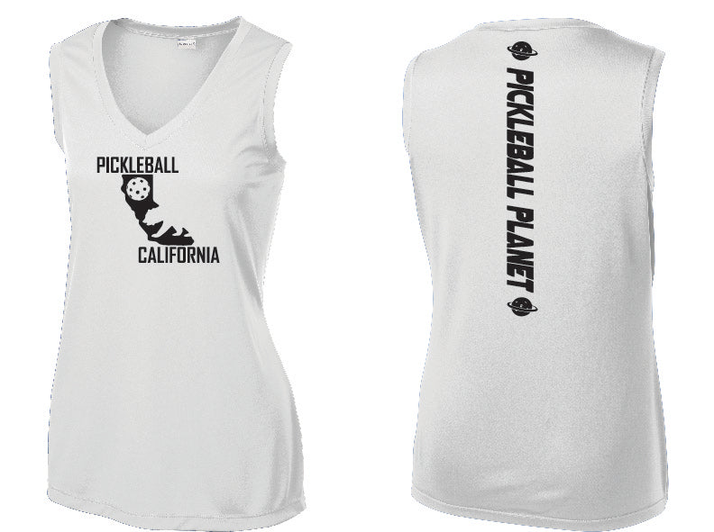 Ladies Sleeveless V-Neck White California Bear