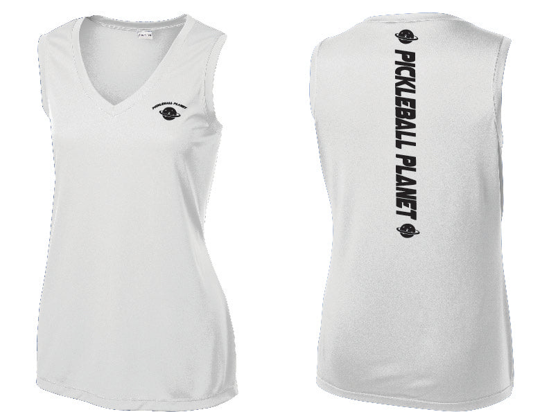 Ladies Sleeveless V Neck Tank White Pickleball Planet