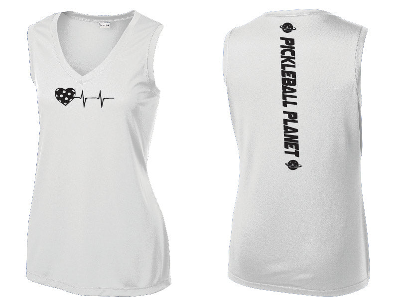 Ladies Sleeveless V Neck Tank White Heartbeat