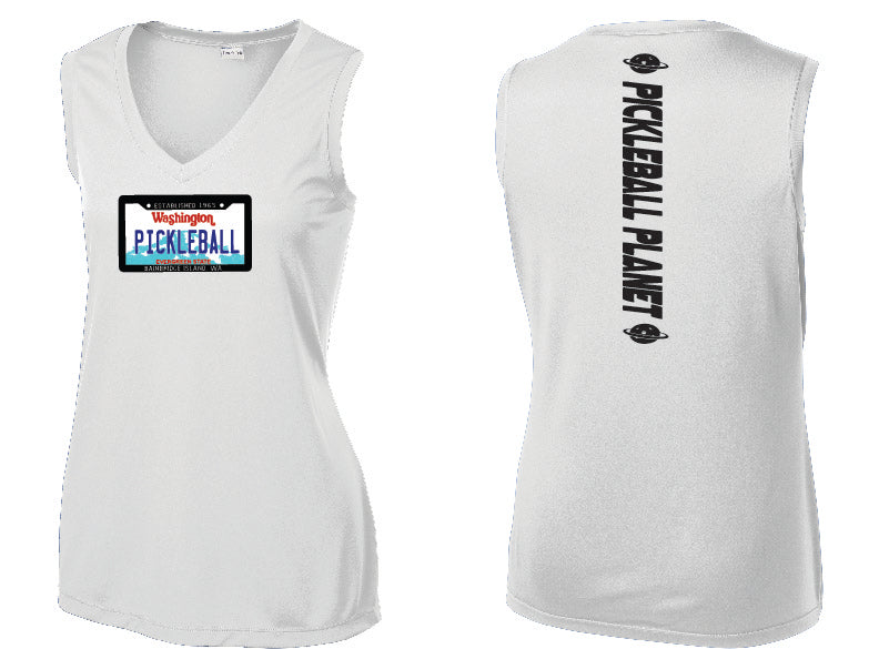 Ladies Sleeveless V Neck Tank White Washington Plate