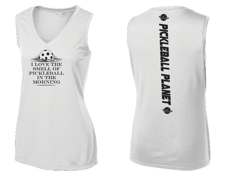 Ladies Sleeveless V Neck Tank White I Love the Smell of Pickleball