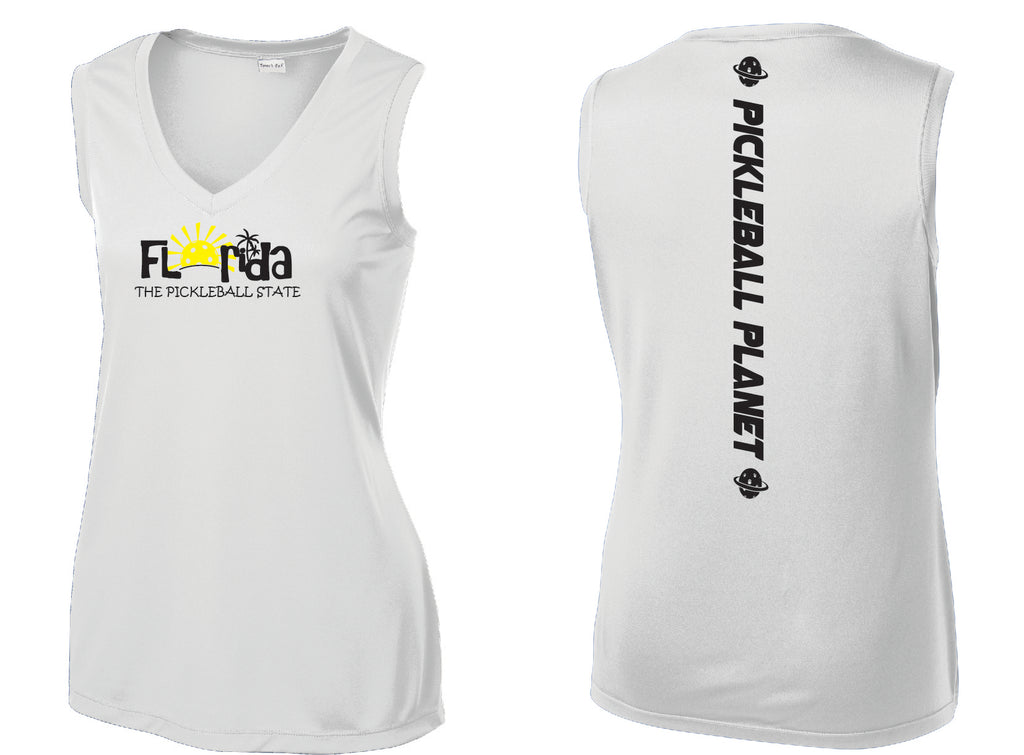 Ladies Sleeveless V Neck Tank White Florida
