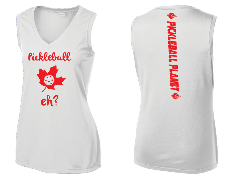 Ladies Sleeveless V Neck Tank White Pickleball Eh