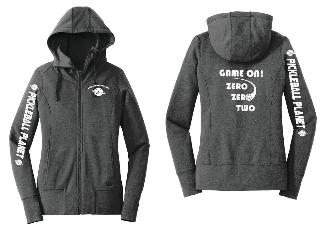 Ladies Full Zip Hoodie Black Heather Game On