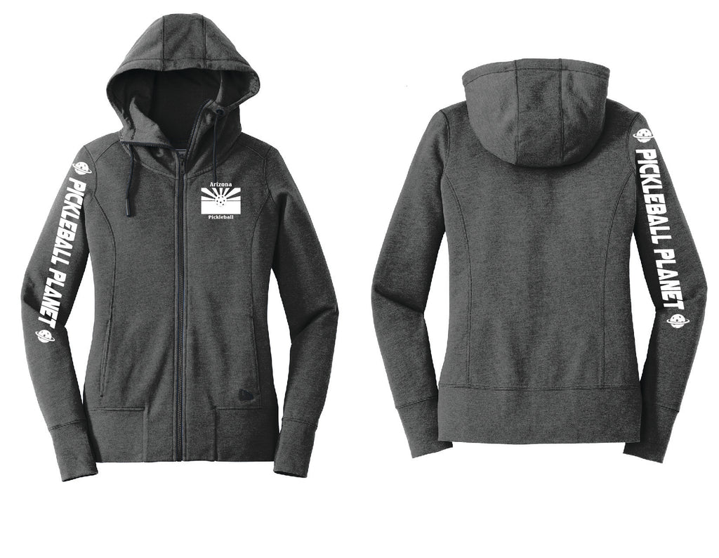 Ladies Full Zip Hoodie Black Heather Arizona Flag