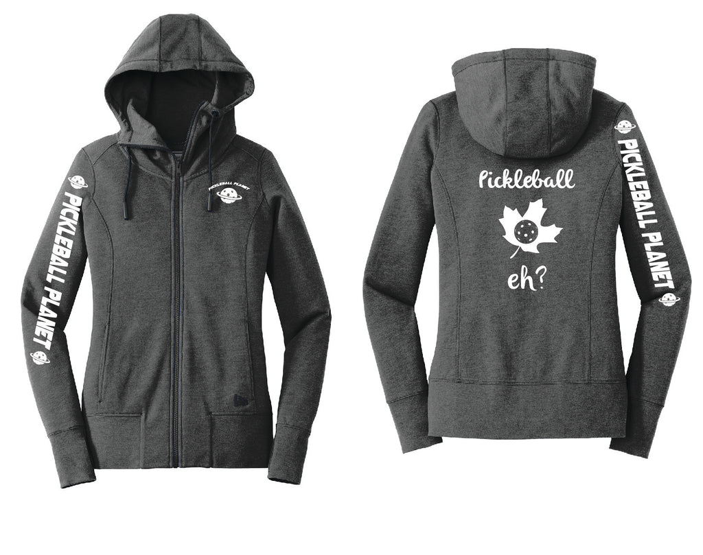 Ladies Full Zip Hoodie Black Heather Pickleball Eh