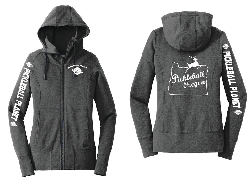 Ladies Full Zip Hoodie Black Heather Pickleball Oregon