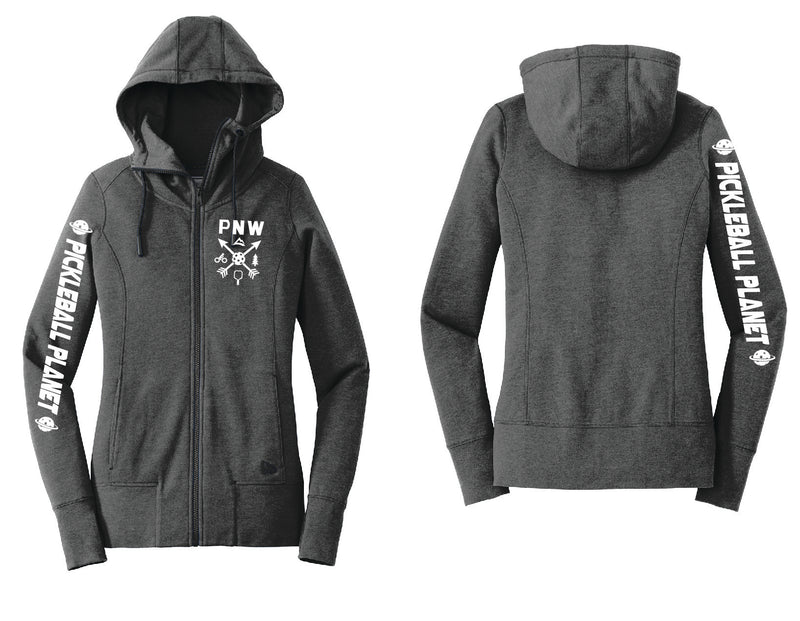 Ladies Full Zip Hoodie Black Heather PNW