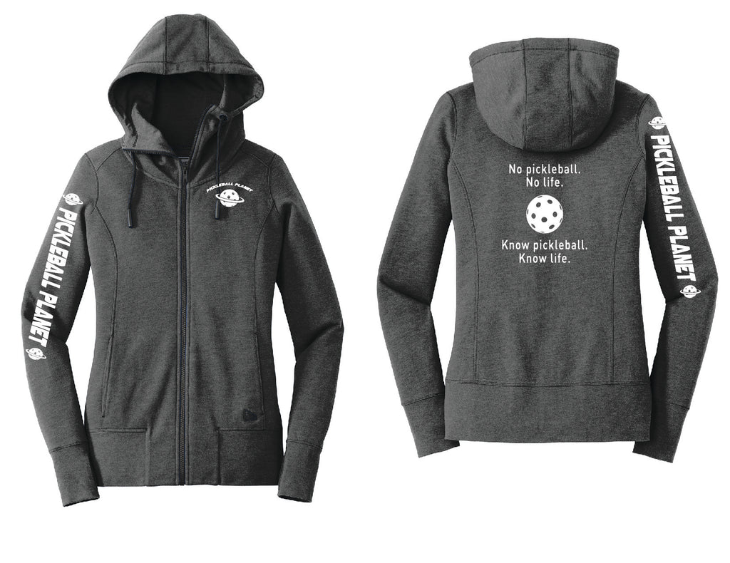 Ladies Full Zip Hoodie Black Heather Know Pickleball