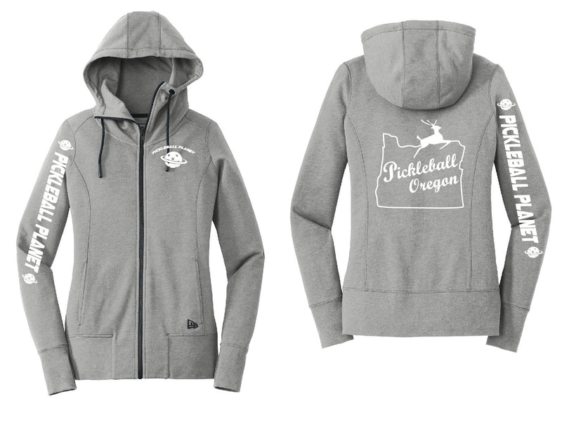 Ladies Full Zip Hoodie Shadow Gray Heather Pickleball Oregon