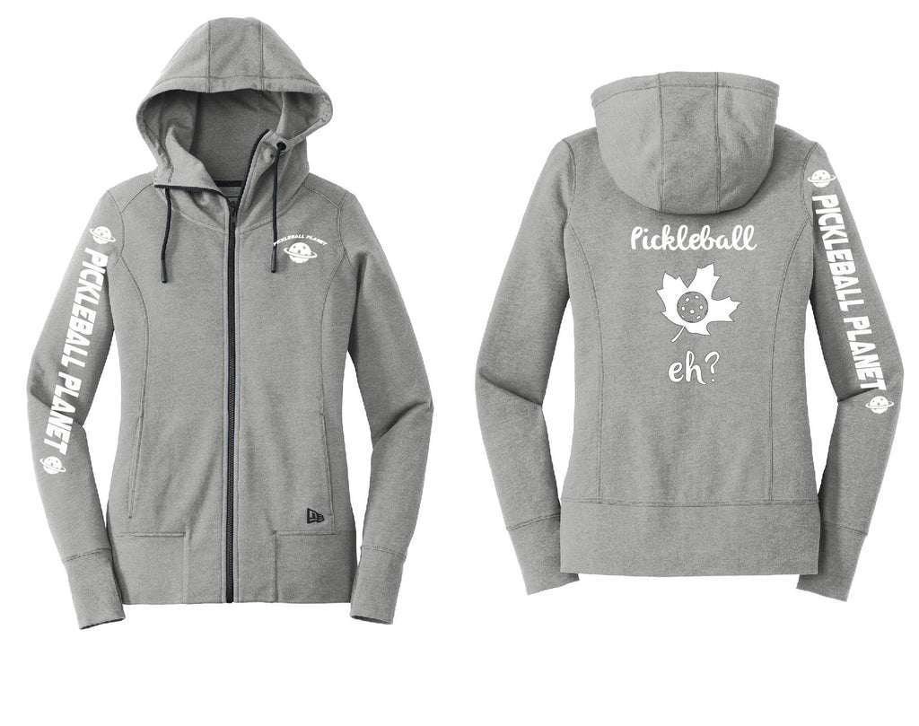 Ladies Full Zip Hoodie Shadow Gray Heather Pickleball Eh