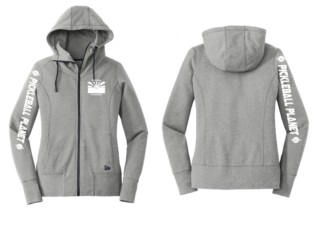 Ladies Full Zip Hoodie Shadow Gray Heather Arizona Flag
