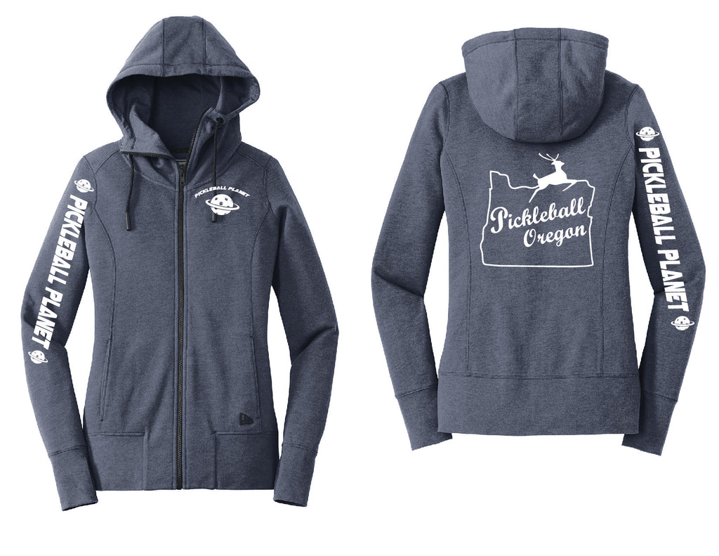 Ladies Full Zip Hoodie Navy Blue Heather Pickleball Oregon