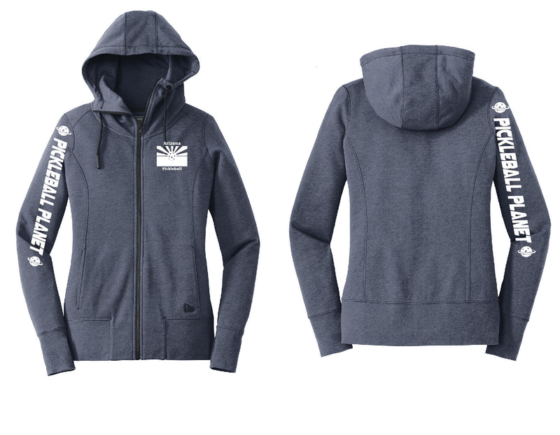 Ladies Full Zip Hoodie Navy Blue Heather Arizona Flag