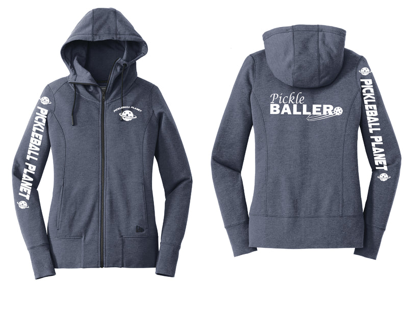 Ladies Full Zip Hoodie Navy Heather Pickleballer