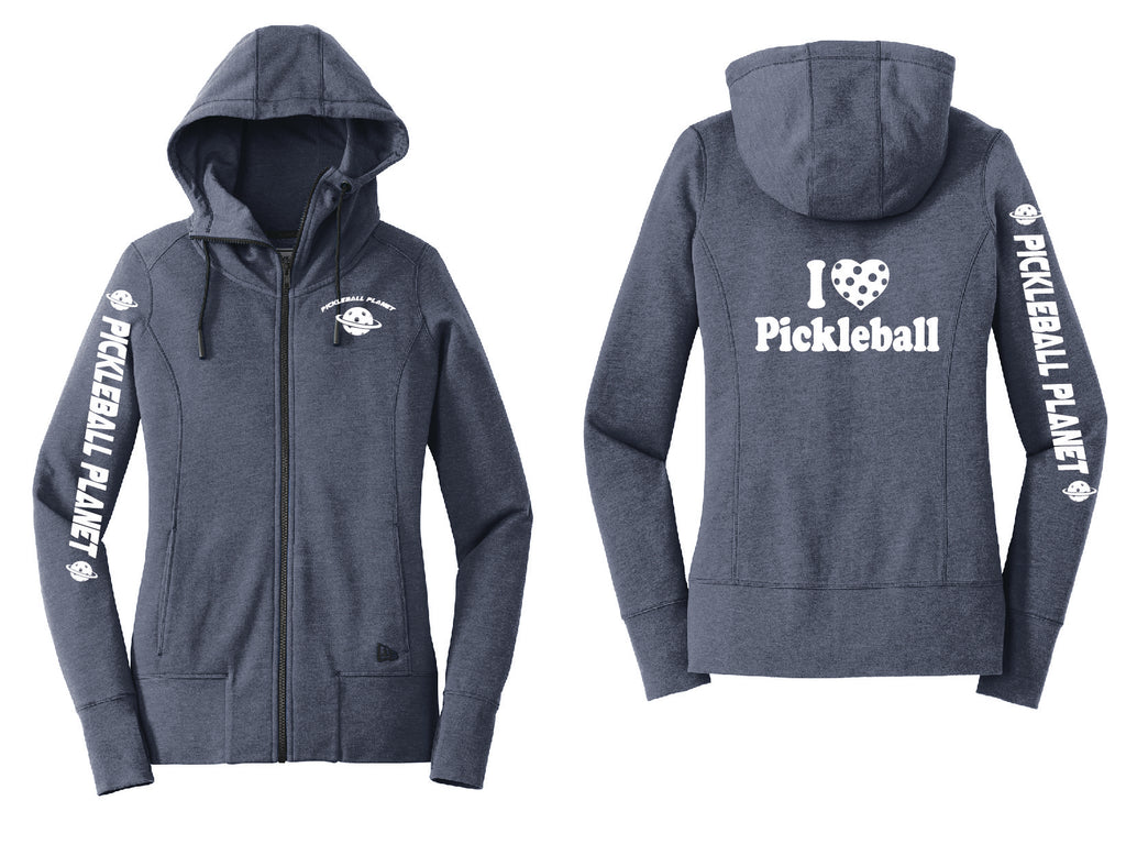 Ladies Full Zip Hoodie Navy Blue Heather I Love Pickleball