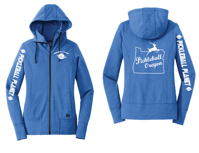 Ladies Full Zip Hoodie Royal Blue Heather Pickleball Oregon