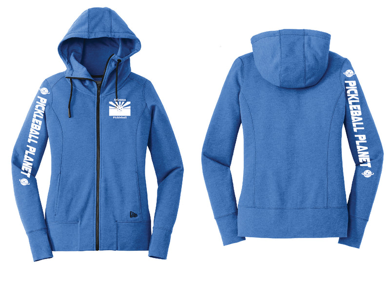 Ladies Full Zip Hoodie Royal Blue Heather Arizona Flag