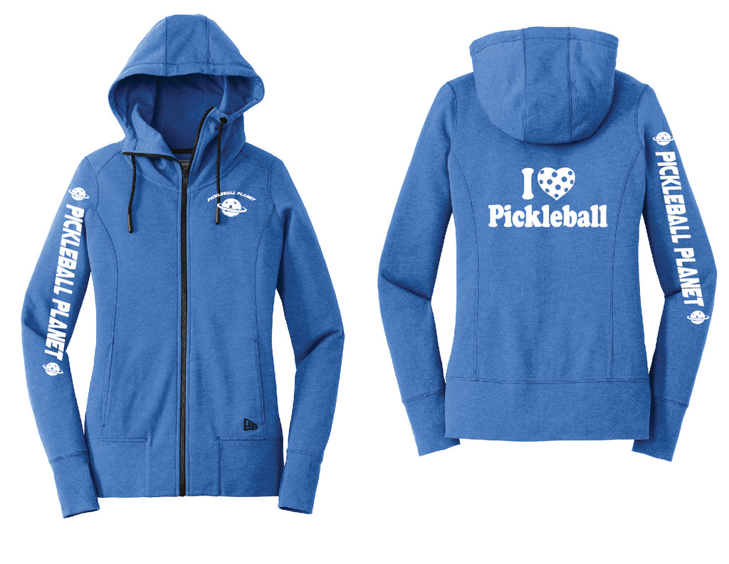 Ladies Full Zip Hoodie Royal Blue Heather I Love Pickleball